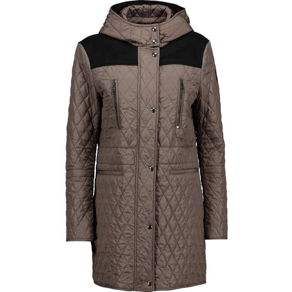 Belstaff Flynn Felt Paneled Quilted Shell Coat ($398) ❤ liked on Polyvore featuring outerwear, coats, felt coat, brown coat, quilted coat, belstaff coat and shell coat