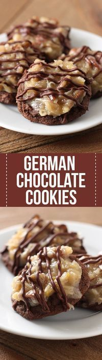 Oh my YUM!! German Chocolate Cookies feature a homemade ultra soft, chewy, gooey double chocolate cookie loaded with a flavorful coconut pecan topping. Amazing!