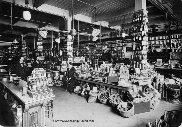 A historic photo view of A. Moll Groceries at St. Louis, Missouri. This is what a well stocked, larger grocery store would have looked like in a major city such as St. Louis during the 1890's to early 1900's. Apparently, this store was rather busy at times as there are at least four different cash registers shown in this view. This photo and a growing collection of vintage postcards and photos can be viewed on the My Genealogy Hound website: www.MyGenealogyHound.com