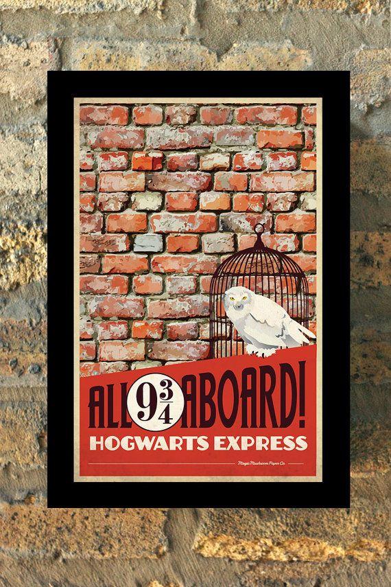HOGWARTS EXPRESS Harry Potter Travel Poster Vintage Print Wall Art House Warming New Apartment