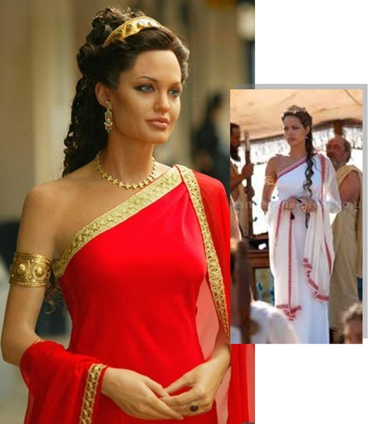 Grecian Goddess    One-Shoulder full length gown.  With a sheer wrap worn attached to one shoulder and draped generously around both arms    Worn here by Angelina Jolie as Queen Olympia in the movie Alexander the Great