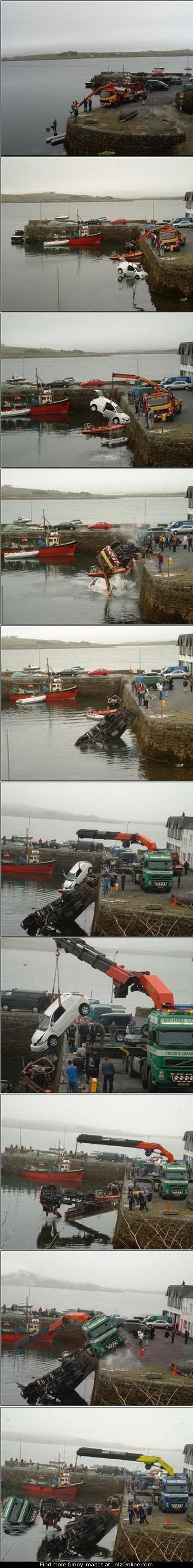 Crane fail - How many tow trucks and cranes does it Actually take to lift ONE mini van out of the Sea 1...2...3...4...5. FIVE LMAO.