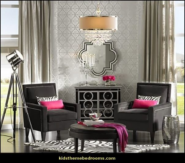 contemporary glam rooms | Luxe room decor - Hollywood style decorating - glamour themed rooms