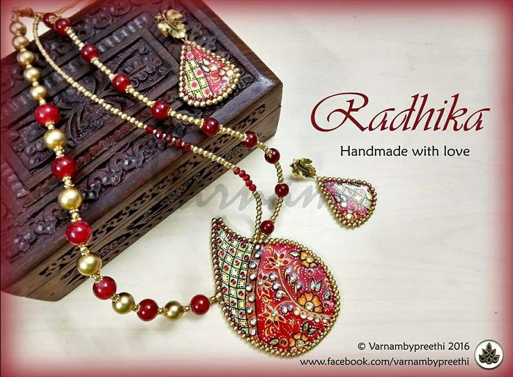 A modified version of Radha,  a tanjore style in red :) Code name: Radhika Customized handcrafted paper based pendant with tanjore style painting and matching earrings. #handcrafted #handmadelove #varnambypreethi #radhika #paperbase #resin #chennai #jewelry #accessories #ethnic #tanjorestyle