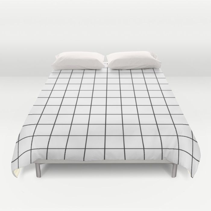 White Black Grid Minimalist Duvet Cover
