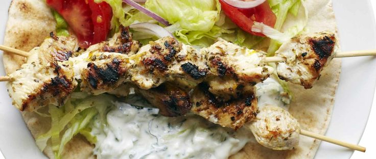 Chargrilled chicken skewers and tzatziki recipe, wrapped in a warm flatbread is the best midweek meal for chicken. Ready in quickly in 20 minutes. Keep it healthy with salad on the side.
