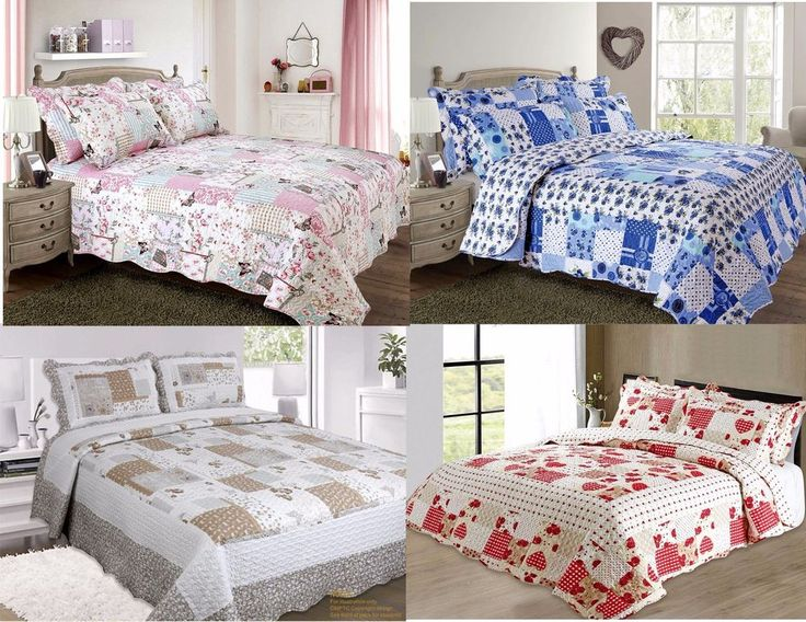 New Quilted Comforter Bedspread Patchwork Single Double King Vintage and Shams