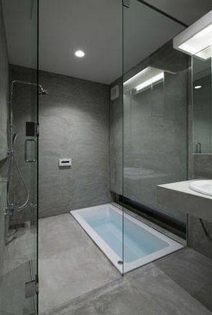banheira no nível  do piso