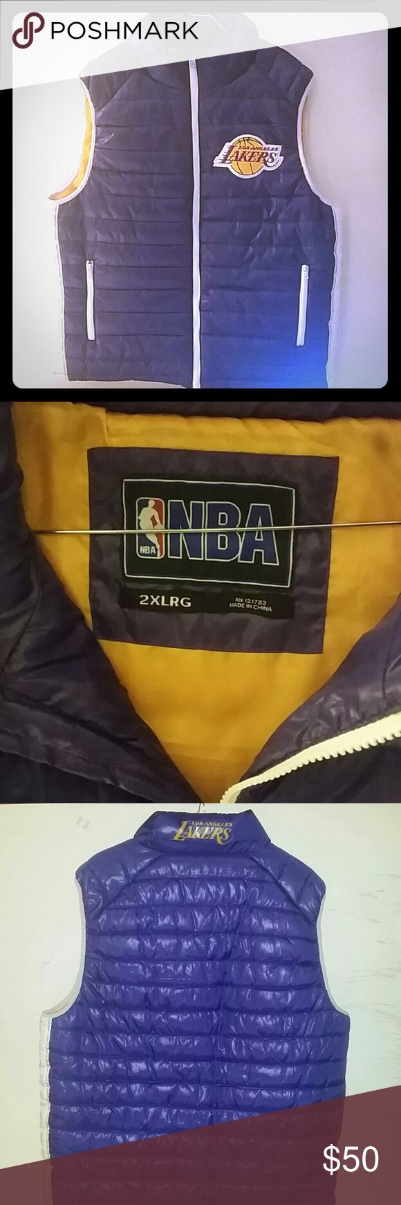 LOS ANGELES LAKERS FULL ZIP PUFFY VEST 2XLG RETAIL 70 NEW WITHOUT TAG NBA Los Angeles lakers Jackets & Coats Puffers