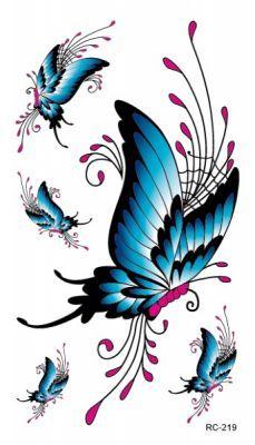 Mavi Kelebekler Geçici Dövme, Tattoo, Temporary Tattoo