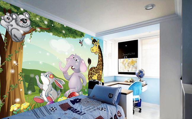d coration murale papier peint pour b b et enfant les animaux de la savane. Black Bedroom Furniture Sets. Home Design Ideas
