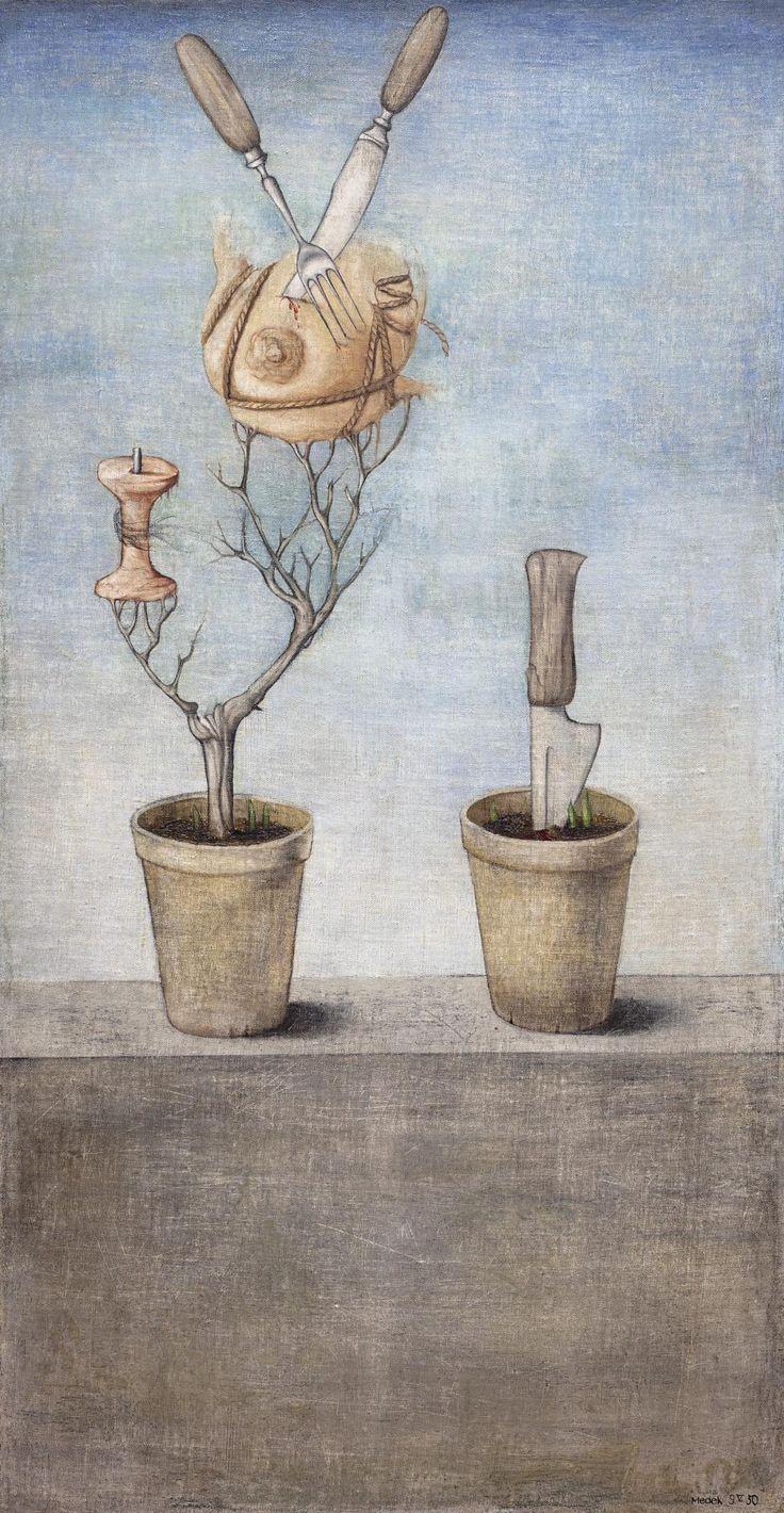 Nový suveréní autorský rekord a zároveň rekord poválečného surrealismu: Mikuláš Medek: Květináče (Snídaně) / 1950 / olej na plátně / 109 x 56 cm / European Arts 22. 11. 2015 / 9 720 000 Kč