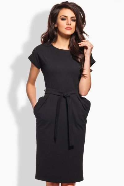 Elegancka sukienka z paskiem L129