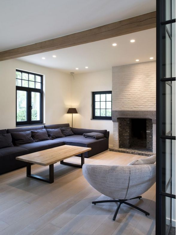House- black windows- fireside