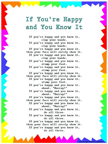"Silly Songs: Lyrics for ""If You're Happy and You Know It ..."