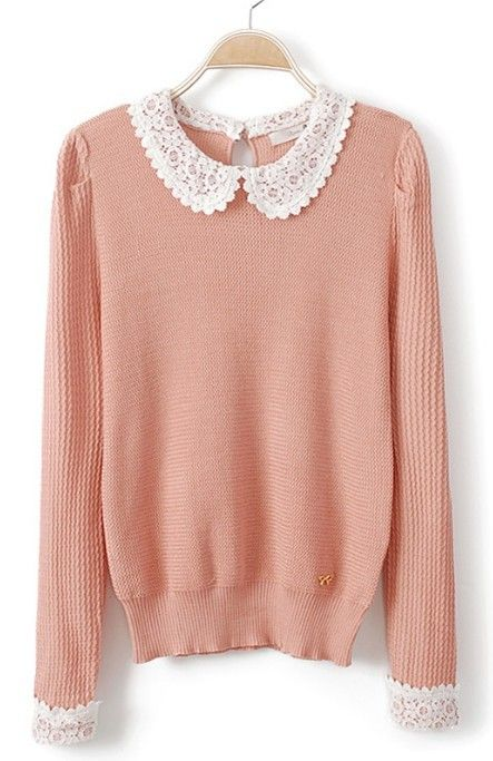 Pink Lace Lapel Long Sleeve Hollow Pullovers Sweater - Sheinside.com