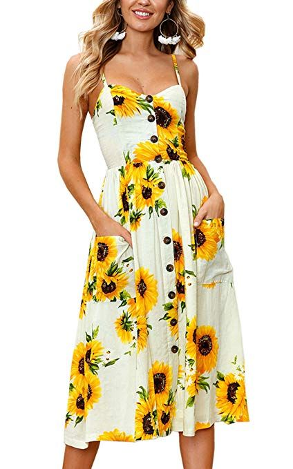 e1aacbcf1780 Angashion Women's Dresses-Summer Floral Bohemian Spaghetti Strap Button  Down Swing Midi Dress Pockets at Amazon Women's Clothing store: