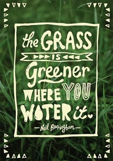 Grass, water, quote