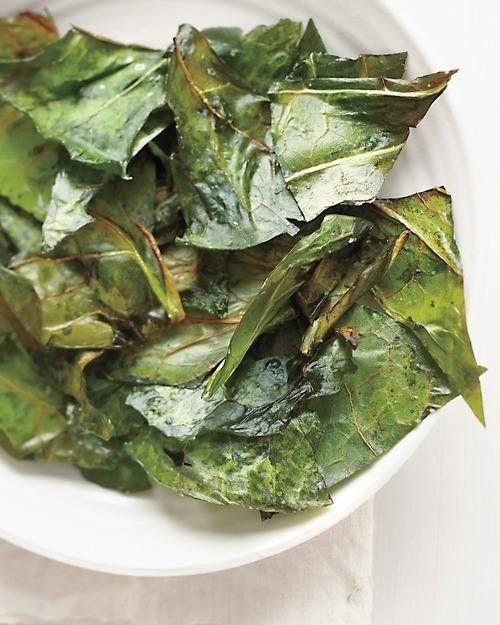 "Collard greens ""chips."" We have a huge collard greens plant in our garden, so this would be perfect! :)"