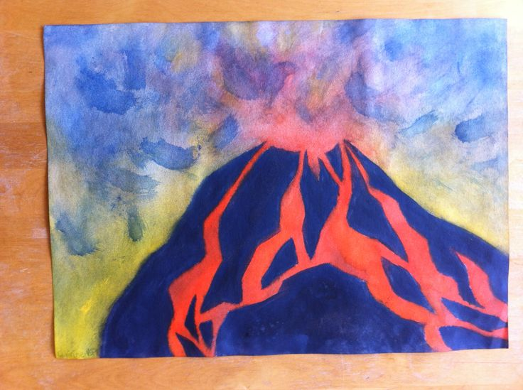 Schilderen // uitbarstende vulkaan // eigen werk // propedeuse jaar 2014