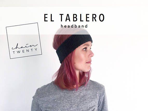 KNITTING PATTERN El Tablero headband  modern ear warmers