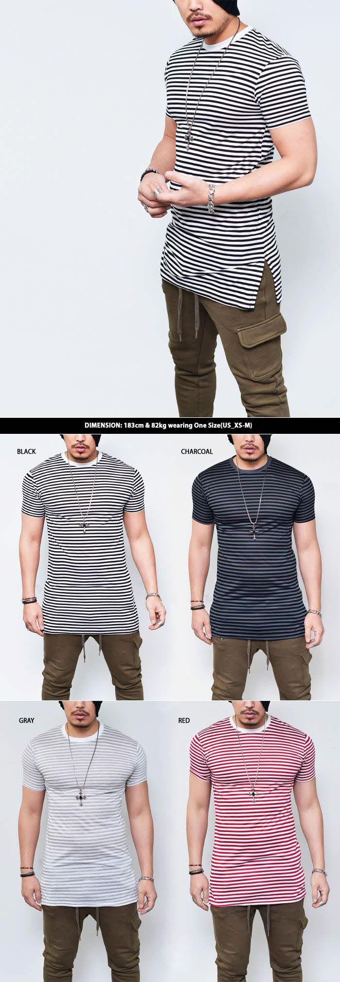Tops :: Street Must Stripe Long Slit Round-Tee 493 - Mens Fashion Clothing For An Attractive Guy Look
