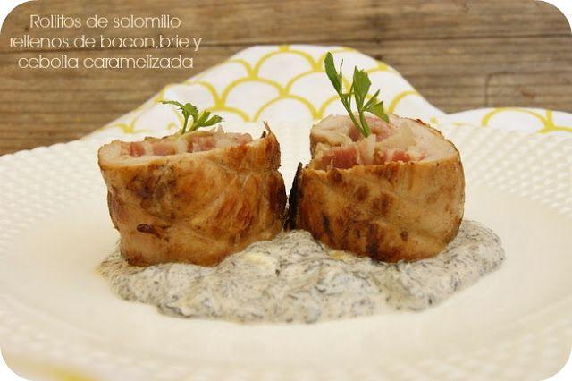 Rollitos de solomillo rellenos de bacon, brie y cebolla caramelizada