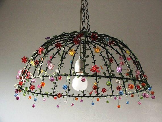 Unter der Kuppel große Decke Lampenschirm, einzigartige Metall Leavs Blumen und Perlen Beleuchtung