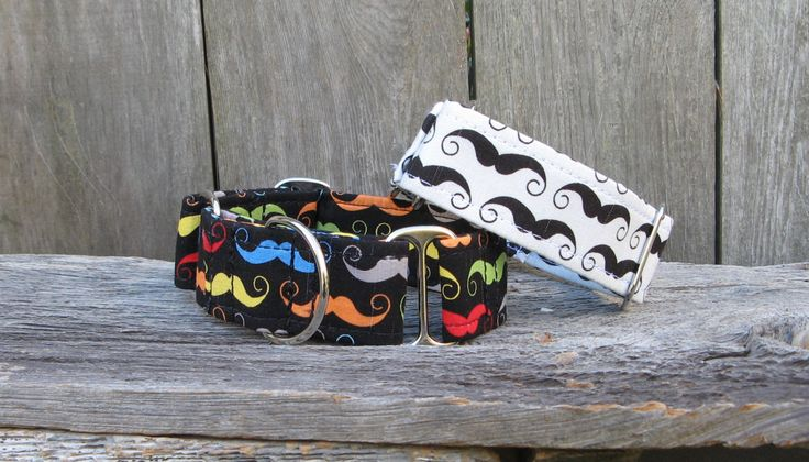 Mustache Martingale Dog Collar,  Mustache Dog Collar, Whippet Collar, Greyhound Collar, Saluki Collar, Afghan Borzoi Wide Martingale by HotdiggityCollars on Etsy