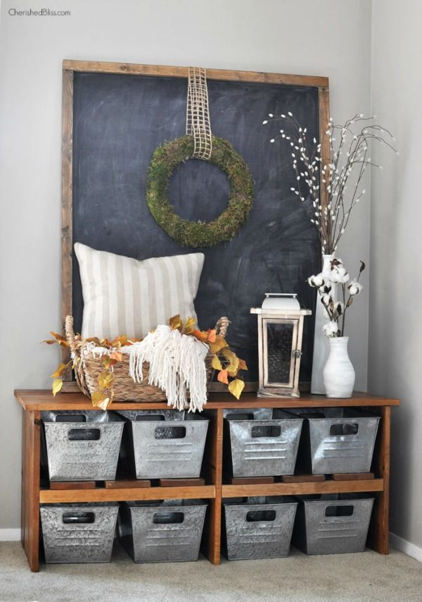 Shoe Bench Decor Using Cotton by Cherished Bliss, Fall Decor Inspiration. Stunning homes decorated for Fall.  Lots of pictures full of ideas.