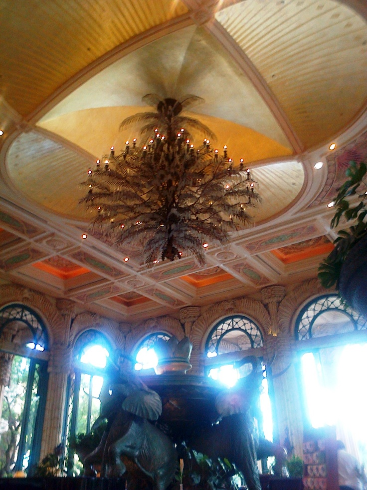Ceiling, Chandelier and Elephant Fountain (Crystal Court, The Palace at the Lost City, Sun City, South Africa)
