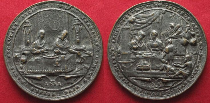 1551 Deutschland - Medaillen 1551 Biblical medal PHARAON & FROG PLAGUE / LAZARUS cast silver 56mm # 92938 VF