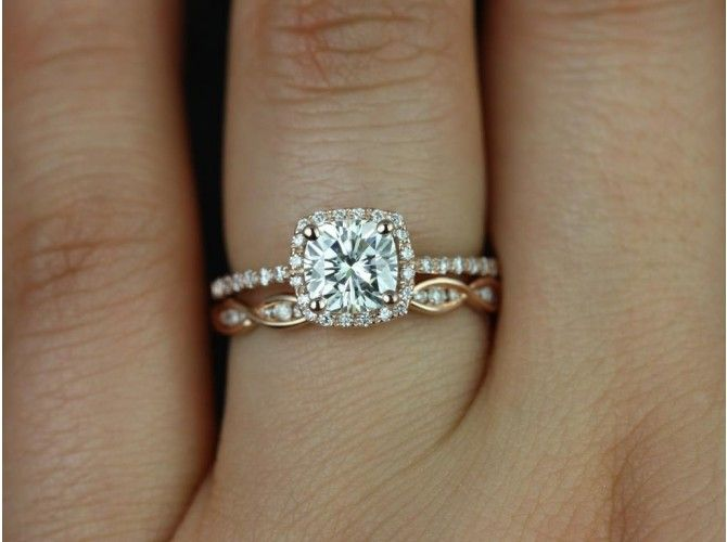 STUNNING! Rosados Box Barra 6mm and Ember Rose Gold Cushion FB Moissanite and Diamond Halo Wedding Set