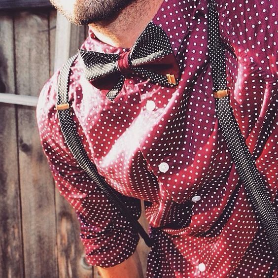 Amazing polka dotted shirt with a bow tie & a suspender. 10 Style Tips for Men to Up Their Game — Mens Fashion Blog - #TheUnstitchd