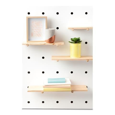 KMART $30 | Pegboard with Wooden Shelves - could I be bothered making one myself for the boys rooms?