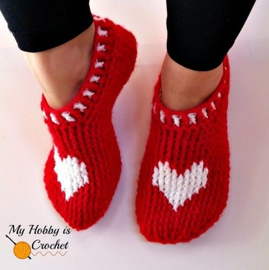 Heart Slippers Free Crochet Pattern