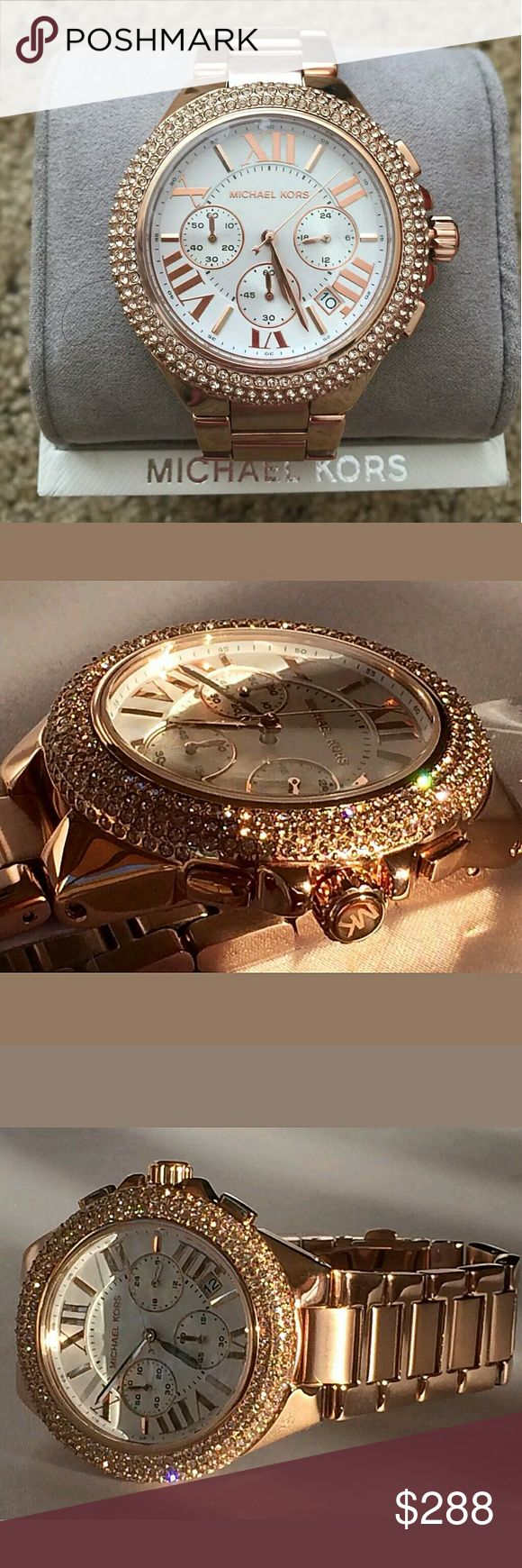 MICHAEL KORS Rose Camille Swarovski Crystal watch MICHAEL KORS Rose Gold Swarovski Crystal Glitz Chronograph Watch.  FIRM PRICE FIRM PRICE FIRM PRICE  $288.00 . AUTHENTIC WATCH  . AUTHENTIC BOX  . AUTHENTIC MANUAL   SHIPPING  PLEASE ALLOW FEW BUSINESS DAYS FOR ME TO SHIPPED IT OFF.I HAVE TO GET IT FROM MY STORE.    THANK YOU FOR YOUR UNDERSTANDING. Michael Kors Accessories Watches