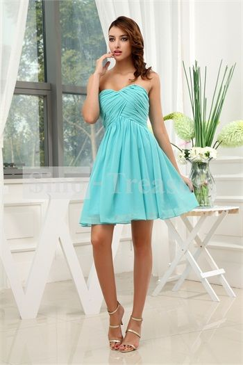 Aliexpress.com : Buy Turquoise A Line Sweetheart Short/ Mini Chiffon Bridesmaid Dress from Reliable chiffon bridesmaid dress suppliers on Sino Treasure
