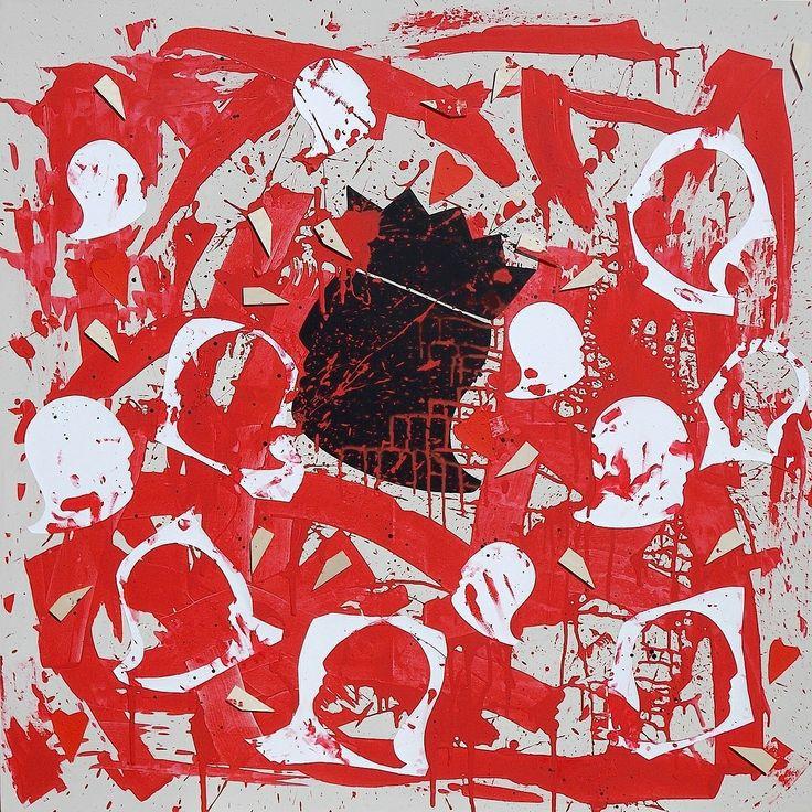 """andrea mattiello """"Anche il Re colpito dalla sofferenza del popolo"""" acrilico e collage su tela cm 100x100; 2013"""