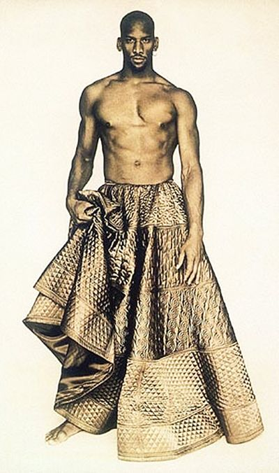 Jean Paul Gaultier circa 1985. Famous for his 'men in skirts'. I think this is a very bold look and this image is very striking and makes me think of roman gladiators for some reason.