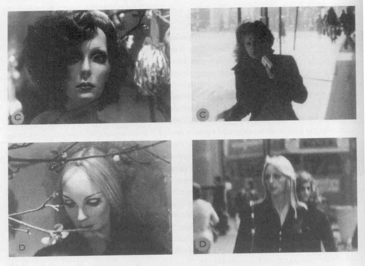 Douglas Huebler, Variable Piece #105 (1972)    Eighteen mannequins were photographed at two minute intervals through the windows of clothing stores on Oxford Street.  Immediately after each photograph was made the artist turned around and photographed the next person that he saw, juxtaposing a model of reality with a real life counterpart.