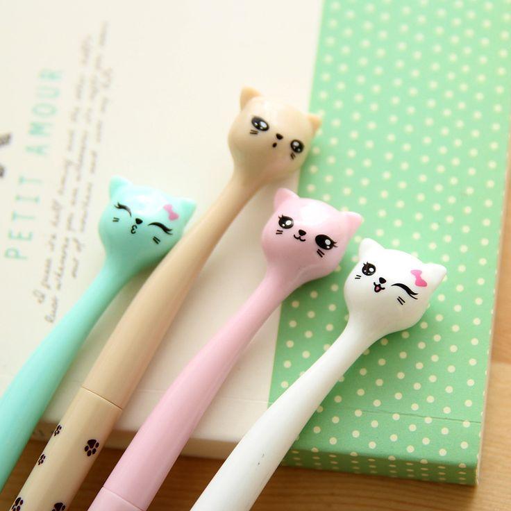 Aliexpress.com: Comprar 4 Unids/lote Lindo Kawaii Coreano Japonés Gato de Dibujos Animados 0.5mm Negro Tinta Gel Bolígrafos Escritura Suministros de Oficina de La Escuela Niños Niñas papelería de gel pen fiable proveedores en Mohamm Store