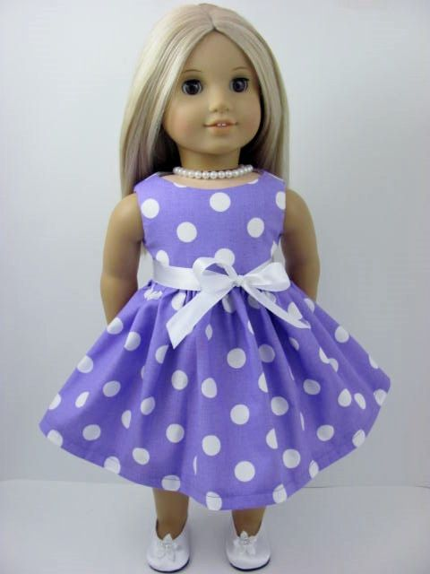 Lavender and White Polka Dot Dress and Sash for the American Girl Doll by TheWhimsicalDoll2