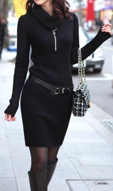 Black sweater dress with colored tights