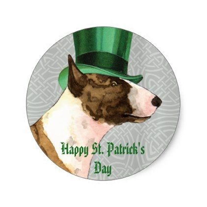 St. Patrick's Day Mini Bull Terrier Classic Round Sticker - saint patricks day st patricks holiday ireland irsih special party