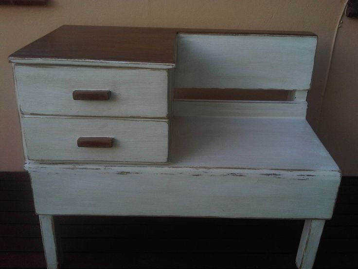 Pine Table-Bench with 2 drawers  in antique white with shabby chic finish and brown top in perfect condition. Measurements: H 73 x L92 x W 51 cm To view more items please visit my Facebook pages at: http://www.facebook.com/ArmstrongHomeDecor