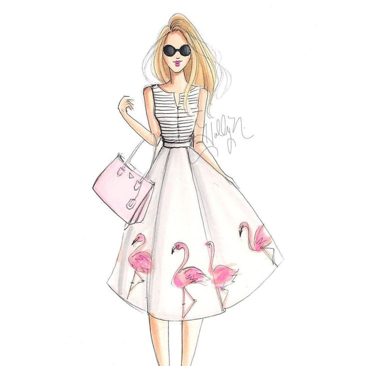 'Flamingo Girl' by @hnicholsillustration/ hnillustration.etsy.com| Be Inspirational ❥|Mz. Manerz: Being well dressed is a beautiful form of confidence, happiness & politeness