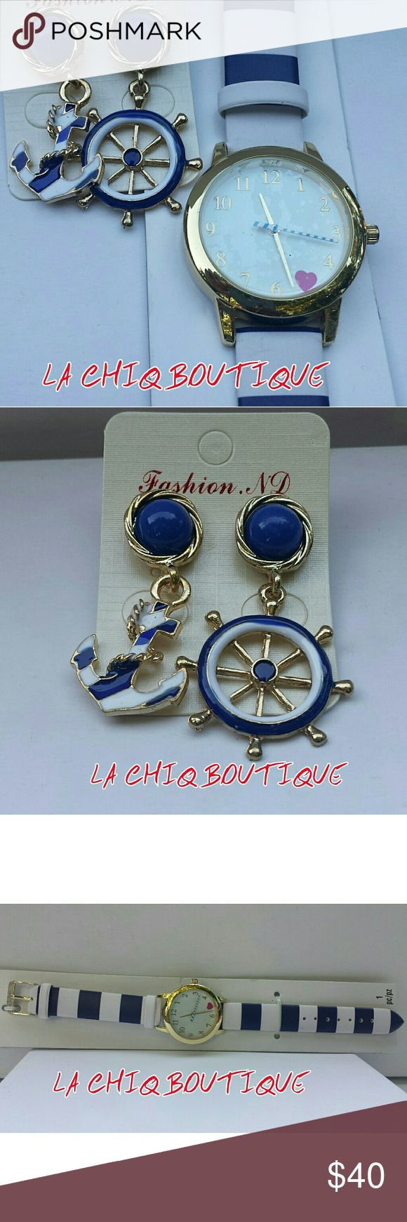 Anchor Earrings And Watch Set Boutique