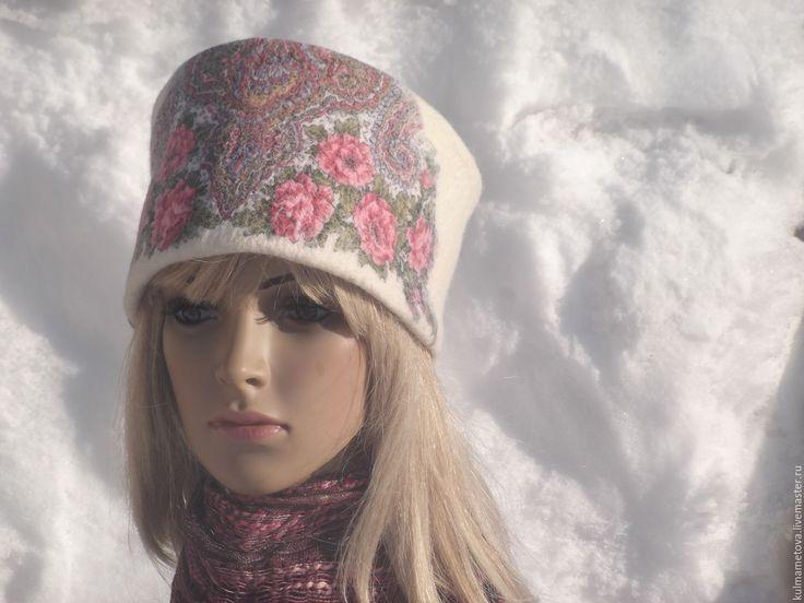 """Купить Шапка """"Цветочная"""" - шапка зимняя, Валяние, шапка валяная, павловопосадский платок, теплая шапка"""