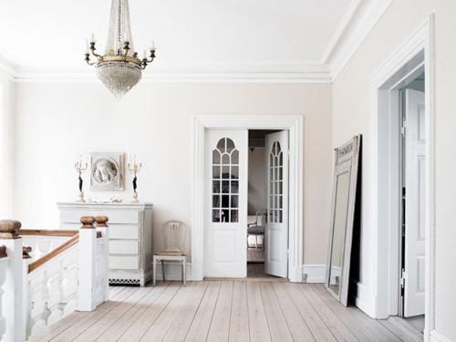 : Wall Colors, Clean Design, All White, Open Spaces, French Doors, White Doors, White Decor, Upstairs Hallway, White Wall